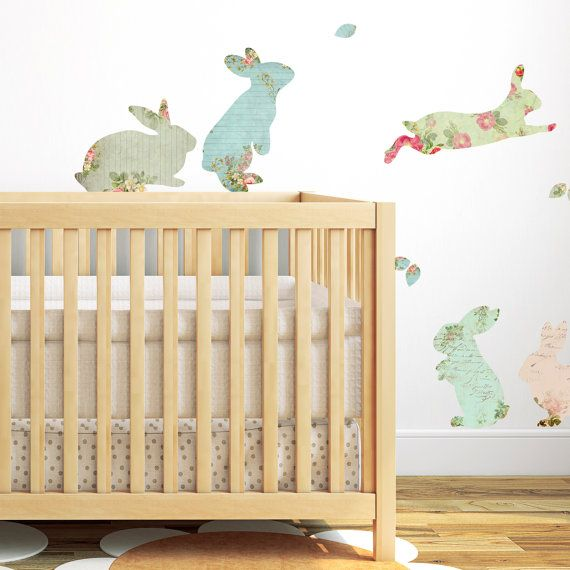 Fabric Rabbit Wall Stickers by SpinCollectiveUK on Etsy