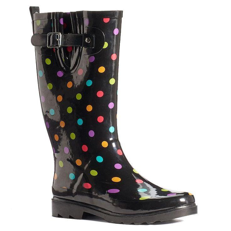 Western Chief Women's Mid-Calf Water-Resistant Rain Boots, Black