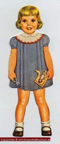 PEGGY Blond gelocktes Puppenkind Anziehpuppe Papierpuppe ausgestanzt Reprint von 1920 Paperdoll