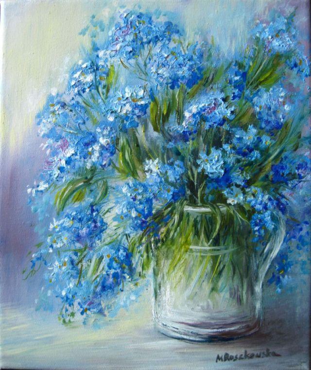 Niezapominajki - Maria Roszkowska - obraz olejny
