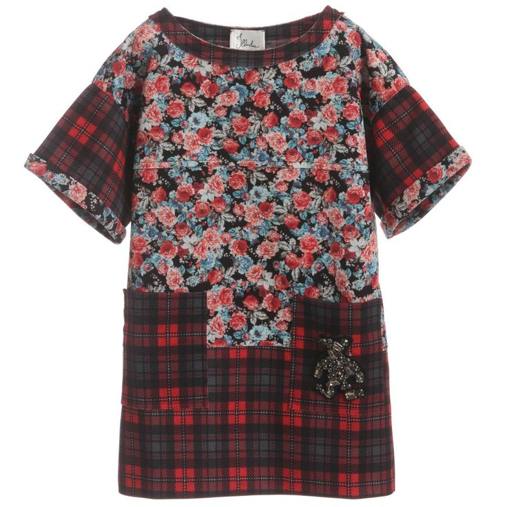 This fun and stylish mini dress from Illudia is made from a soft and slightly stretchy floral and tartan material. It has two deep pockets, a detachable teddy bear brooch covered with jewels and would look good being dressed up or down.<br /> <ul> <li>94% polyester, 6% elastane</li> <li>Machine wash (30*C)</li> <li>Remove brooch before washing</li> <li>Made in Italy</li> <li>Designer colour: Geranium red<br /></li> </ul> <br />