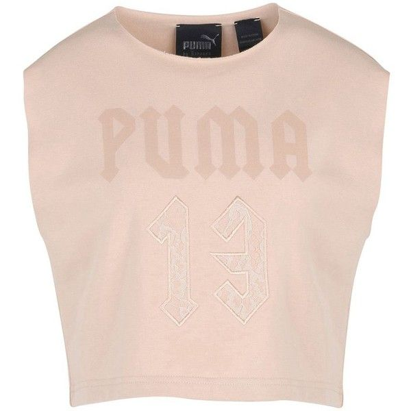 Fenty Puma By Rihanna Sweatshirt ($97) ❤ liked on Polyvore featuring tops, hoodies, sweatshirts, skin colour, stretch top, pink sweatshirts, sleeveless tops, sleeveless sweatshirt and puma sweatshirt