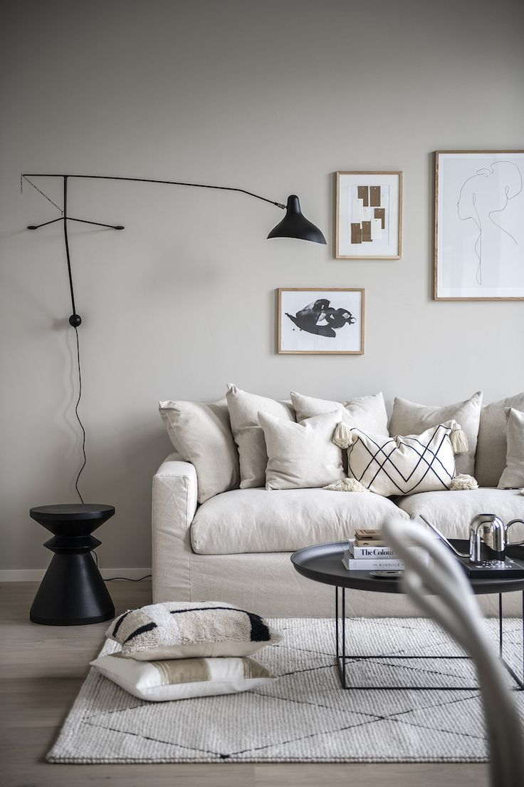 A tiny Scandinavian loft apartment in beige and grey tones