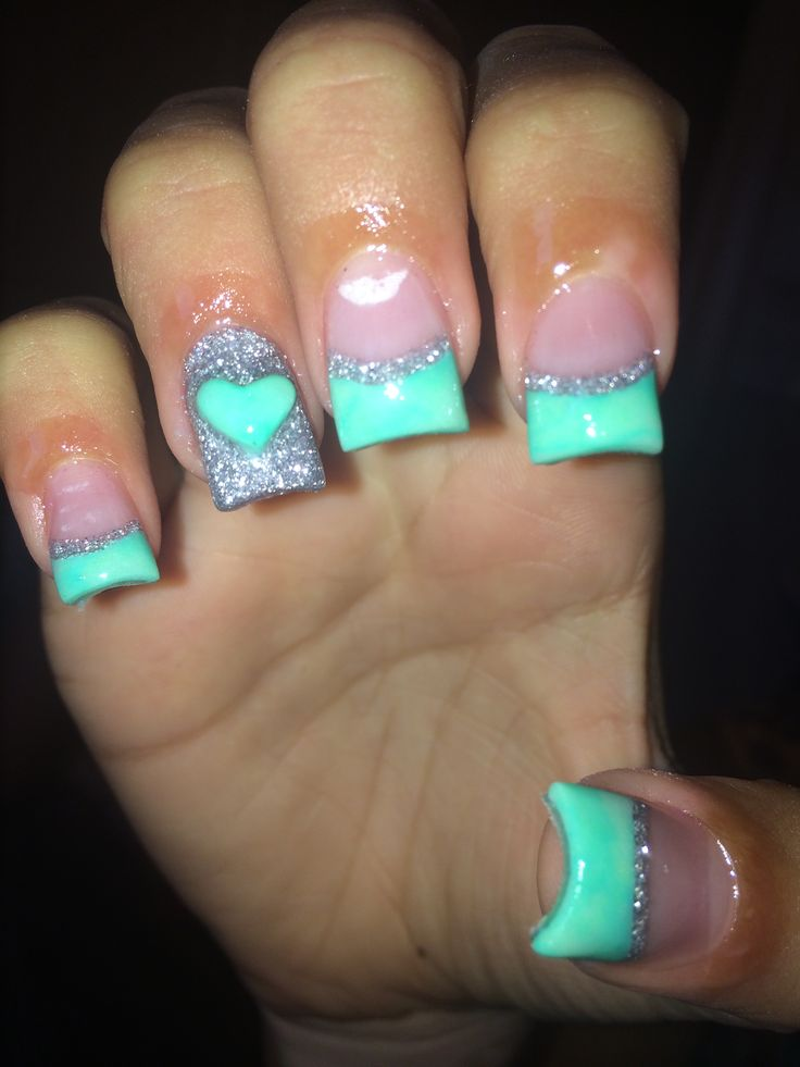 Mint and silver acrylics