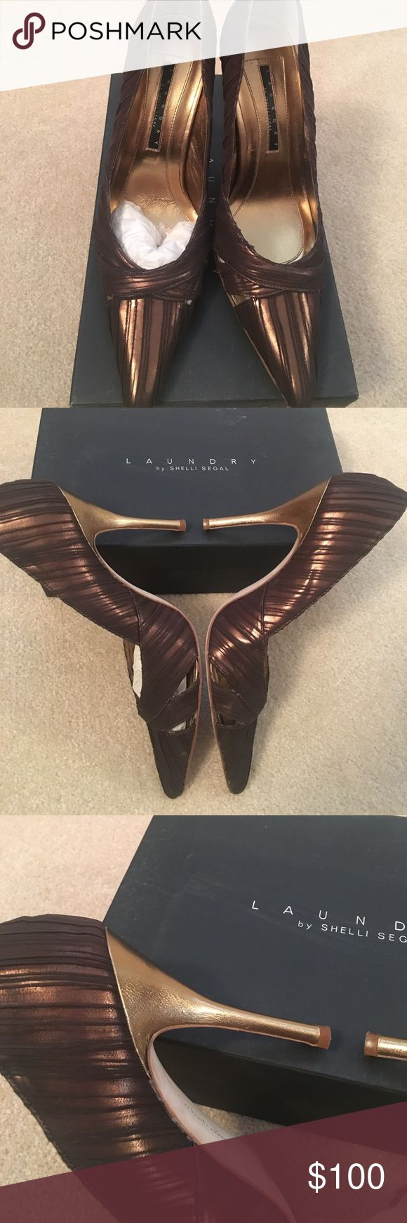 Laundry by Shelli Segal pumps The most amazing heels I've ever seen! Bronze shoe with cutout detailing accented by gold heels! Stunning every way you turn! NWT...absolutely fabulous! Laundry by Shelli Segal Shoes Heels