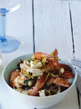 Garlic prawns with feta and chilli flakes.