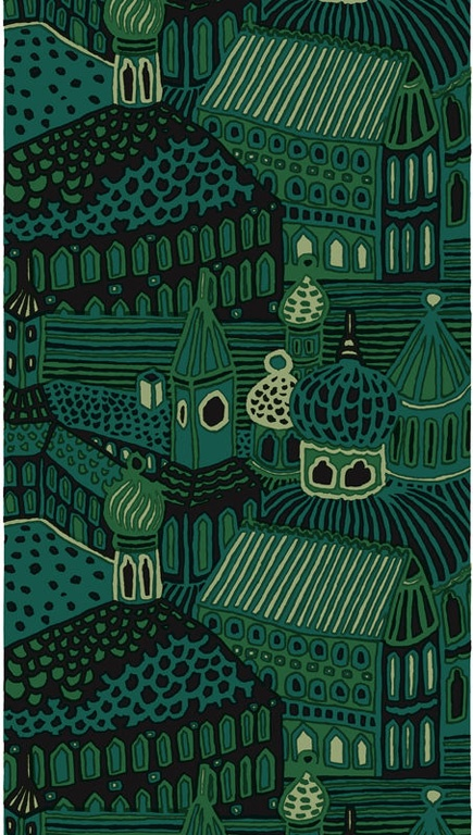 """Designed by Katsuji Wakisaka 1971 Marimekko The return of an old favorite, Kumiseva features village houses and churches in 4 shades of green with black. 1st photo shows 2 yards +. 2nd photo shows panel which is how this fabric is sold. 1 panel is 54"""" wide and 60"""" long."""