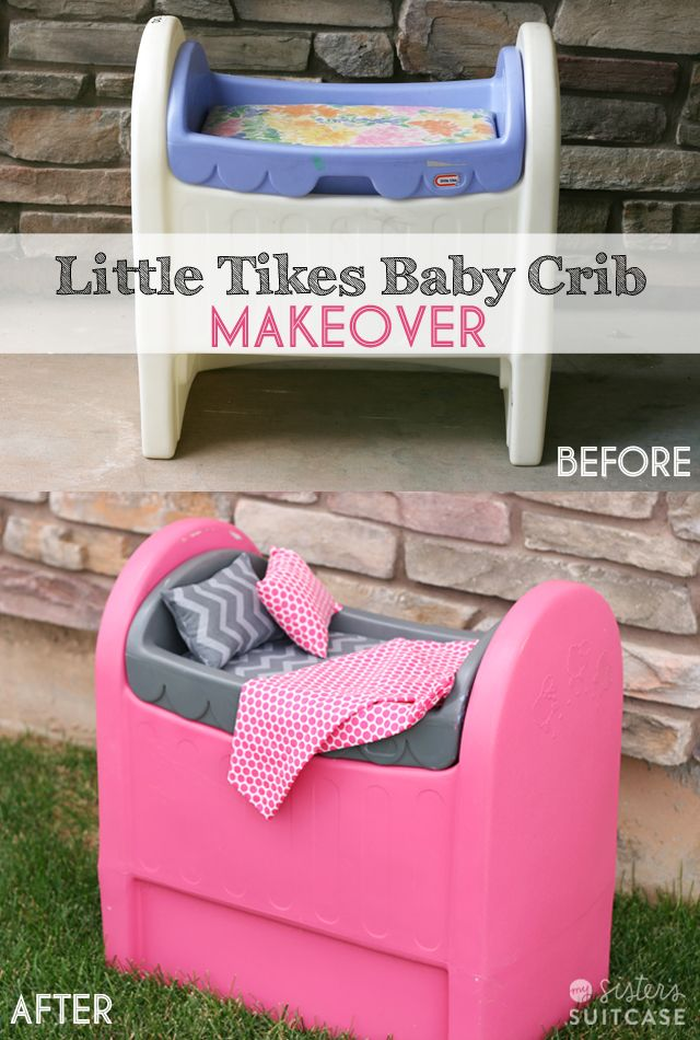 Tips for spray painting plastic furniture (like Little Tikes) and a fun Baby Crib Makeover! #thrifting #makeover #spraypaint www.sisterssuitcaseblog.com