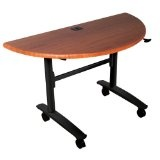 Economy Flipper Half Round Training Table Color: Teak (Office Product)