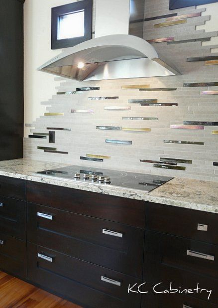 Contemporary Kitchen Backsplash Ledger Stone With Iridescent Glass Tile