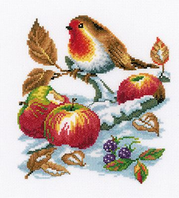 Robin and Fruits Christmas Cross Stitch Kit by Vervaco