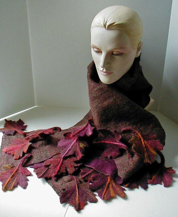 Wolle Filz Schal Red Maple Leaf Schal 3 dimensionale von craftybabs