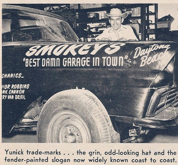 Smokey Yunick and a 1957 Ford NASCAR racer. motorspeed 1958