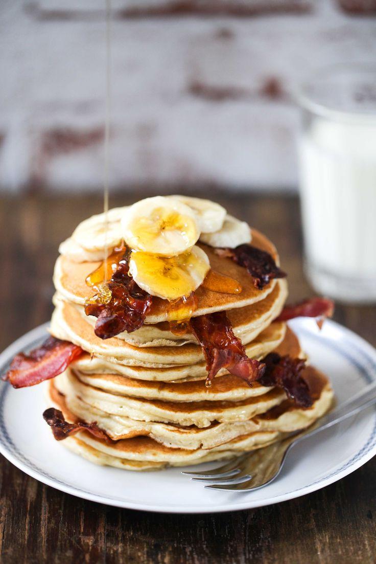Rezept für Elvis Pancakes - Erdnussbutter Bananen Pancake mit Bacon / Frühstücksglück Foodblog Zuckerzimtundliebe / Elvis pancake recipe
