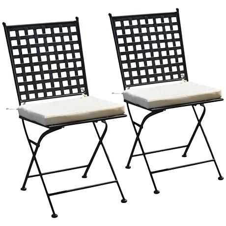 A lattice back and cushioned seat ensure both style and comfort for this set of 2 transitional outdoor folding chairs.