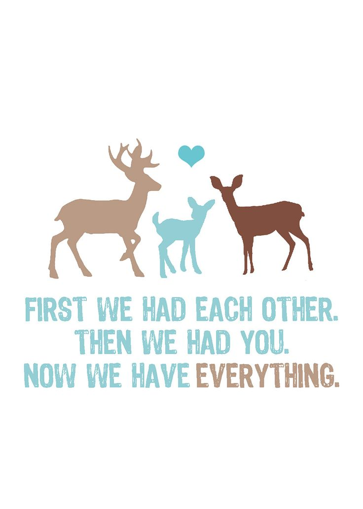 Now We Have Everything 5x7 Deer Family Print by pinkpuppypaperco