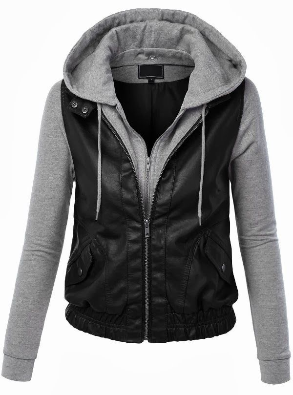 Adorable Black & Grey HoodieI own somehting like this, only the sleeves are back leather also.
