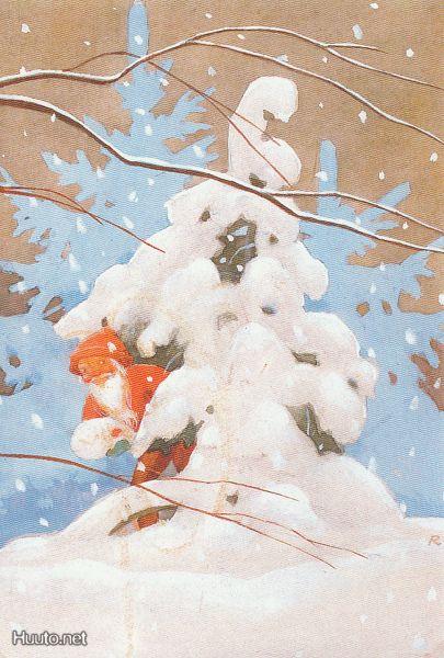 Rudolf Koivu -- Tonttu lumisen kuusen takana - Huuto.net