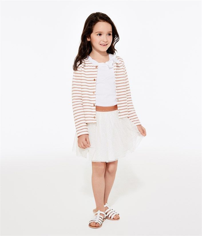 Jupe fille en tulle pailleté blanc Lait / marron Cuivre. Retrouvez notre gamme de vêtements et sous-vêtements pour bébé, enfant, mode femme et homme.