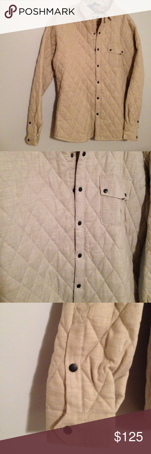 Men's Barbour NWOT Quilted Cream Fall Jacket LG Men's size large Barbour authentic quilted jacket. BRAND NEW. NEVER BEEN WORN! Does not come with tags. Purchased for my fiancé as a Christmas present and was sure it'd fit. It didn't. My loss but your gain! Tan/cream color. Quilted and has a similar liner. Has eyelet vents in the armpits. Snap up closure. Beautiful quilted jacket. Very comfortable too! Sad to see it go! Barbour Jackets & Coats Lightweight & Shirt Jackets