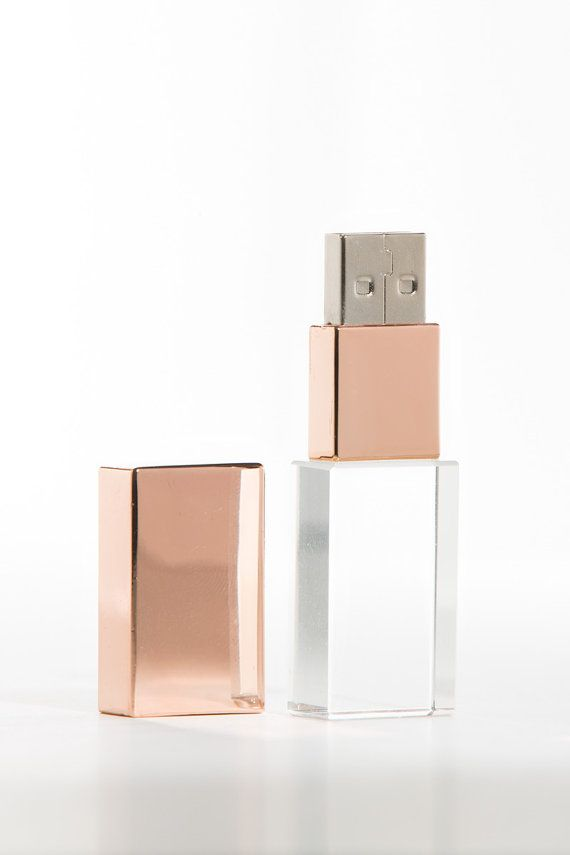 Rose Gold Crystal USB stick 8GB 16GB by littleloveboxes on Etsy