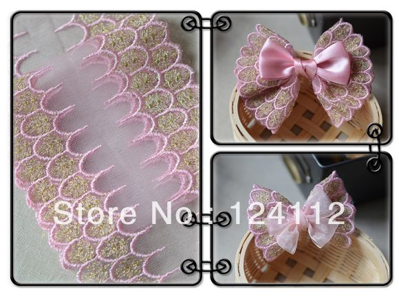11.5cm Wide Free Shipping VL115 DIY Butterfly Hair Accessaries Embroidery Golden Thread Pink Lace Trim $27.80