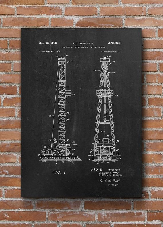 Oil Drilling Patent Texas Oil Rig Office Decor Oil & by dalumna