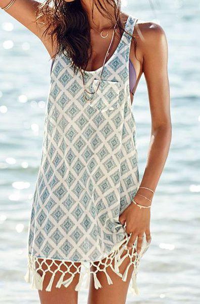 Fashionable Scoop Neck Geometric Pattern Tassel Sundress For Women