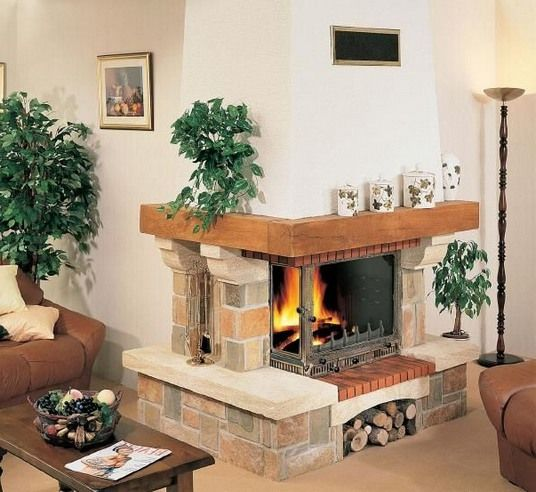 Village Design Two Sided Stone Corner Fireplace Family