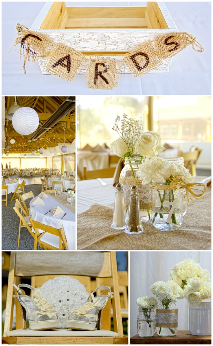 @ Rachel-country chic wedding-the centerpiece flowers like you talked about in mason jars-stylized differently, but having them in a cluster like that in varying sizes and vessels is cute