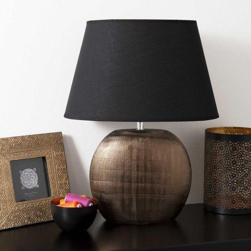 Lampada in ceramica mordorè e abat-jour nero H 42 cm SATURNE