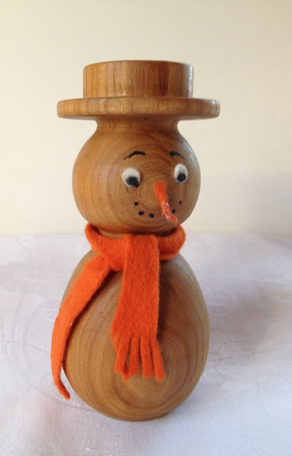 Danish teak wood snowman candle  holder