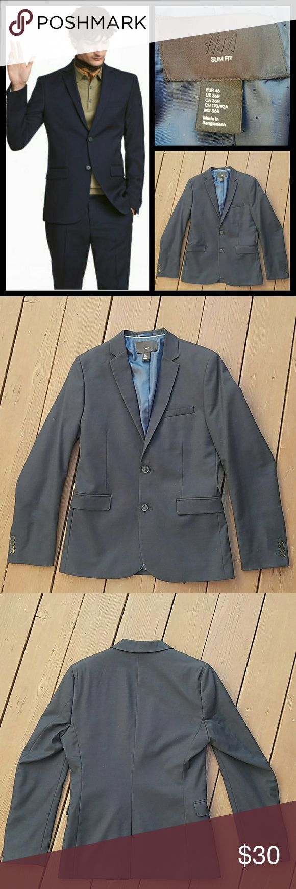 "H&M blazer Navy blue slim fit blazer from H&M. Only worn ones.  Outseam approx 27"" Shoulder to shoulder approx 15-1/2"" H&M Suits & Blazers"