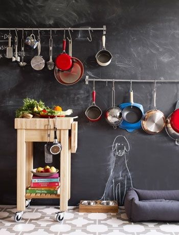 kitchen wall: tool bars & a place for pooch