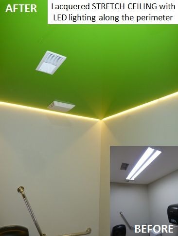 Lacquered Phoenix Stretch Ceiling with LED lighting along the perimeter