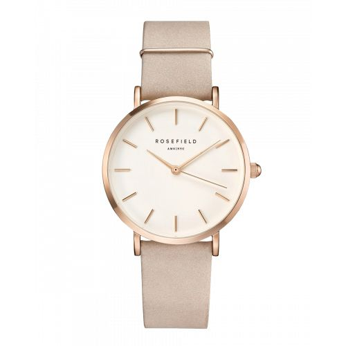 Rose gold ladies watch West Village - Soft pink strap | ROSEFIELD Watches