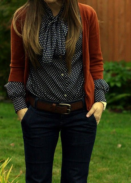 polka dot blouse and the color of that sweater.