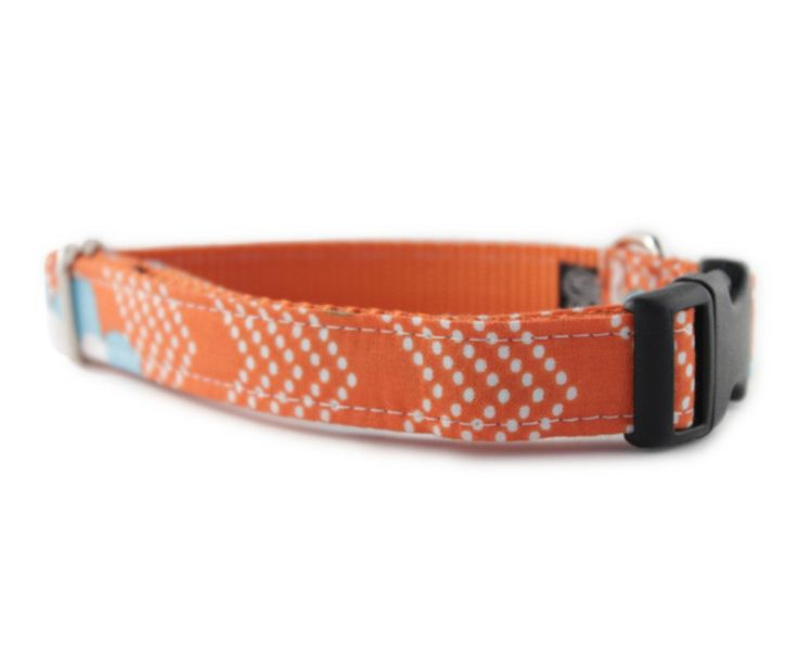 Orange Dog Collar - Orange Splash Dog Collar - Adjustable dog collar - chevron dog collar - dog collar orange