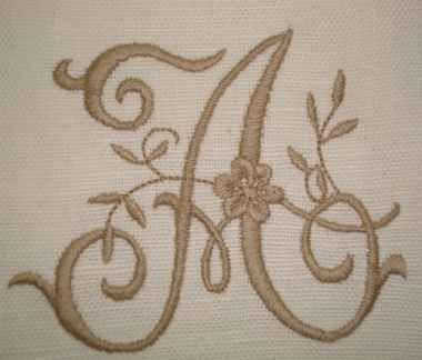 Monogram embroidery letter A