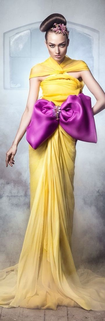 Yellow Evening Gown With Violet Sa Bow