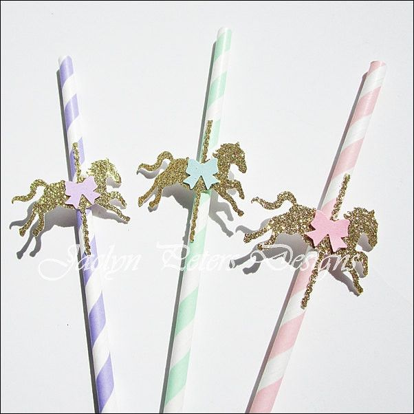 Gold Glitter Carousel Horse Party Straws