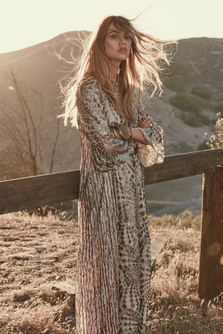 Model wears Silver Maxi Dress for 2015 lookbook