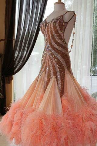 Gorgeous Champagne and Nude Standard Ballroom Dress! This dress was worn by the amazing Inna Berlizyeva at Blackpool, 2013! Sizes: 0-6 Now available for purchase at Classic Ballroom Elegance - www.cberentals.com For details or to purchase contact 480-584-6513, cindy@cberentals.com Don't hesitate, as this dress won't be around for long!
