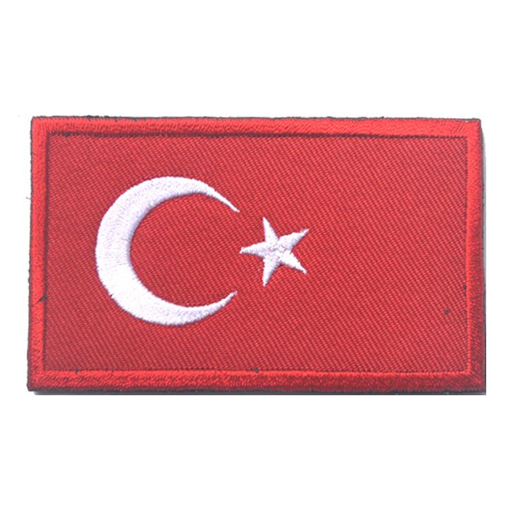 1pcs Flag Patch Turkey Embroidered Military Tactical Badges Turkish Morale Patch Holder Fabric Armband Stickers for Backpack Cap