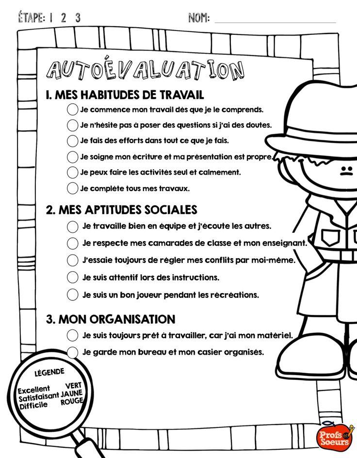 Une autoévaluation pour le portfolio des élèves en cette période de bulletin! C'est gratuit en plus!!!