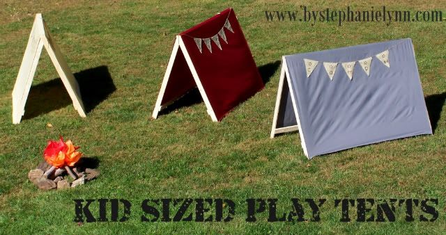 DIY Kid sized play tents (under $9 to make!) -- uses a twin flat sheet for tent fabric.  Other outdoor adventure party ideas too
