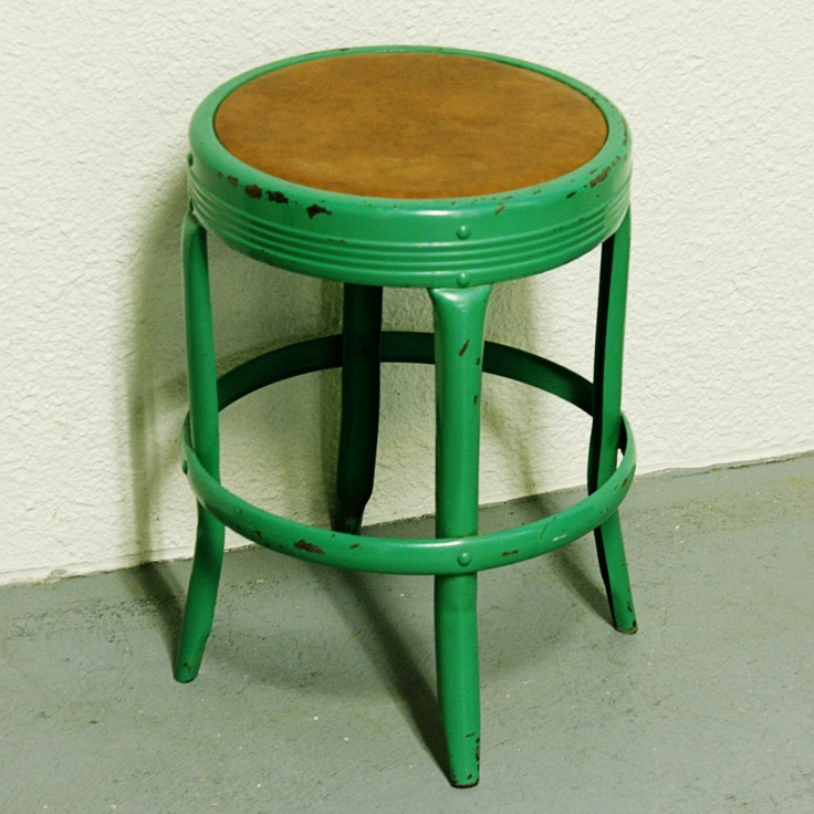 Vintage metal stool - Seat Master Russanov Company - kids stool - seat - industrial - shop stool - green. $42.50, via Etsy.