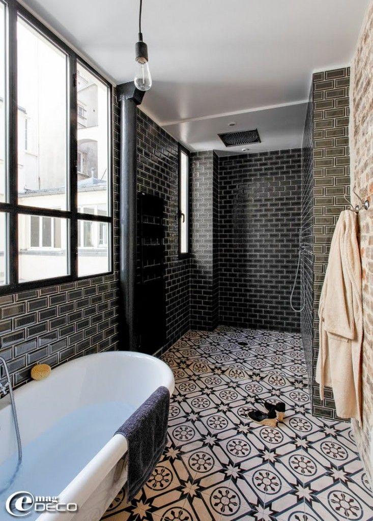 17 meilleures id es propos de salle de bains brique sur pinterest chemin e de salle de bains. Black Bedroom Furniture Sets. Home Design Ideas