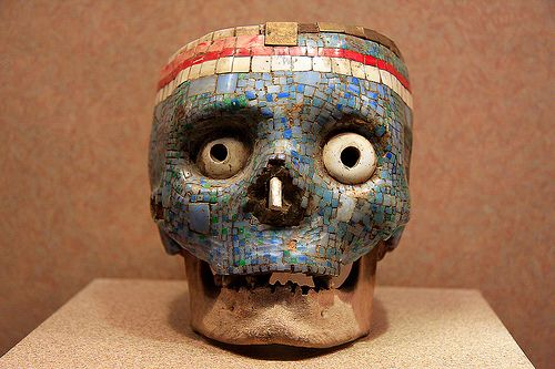 Gemstone decorated Aztec skull, Mexico City museum of arthopology