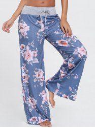 Pantalones florales de cordón ancho de pierna